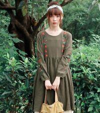 Robe tunique lin ample brodée retro vintage Mori superposition ancienne boheme