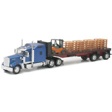 New Ray 1/32 Kenworth W900 Semi & Flatbed Forklift Pallets Model Blue SS-10263 A