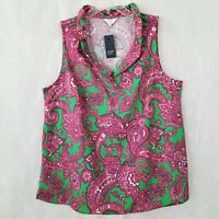 Crown & Ivy Curvy Womens NWT 1X Sleeveless Top Blouse V Neckline Fuchsia Green