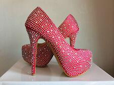 Elegant Pink Wedding Shoes Pearl Diamanti Satin Formal Evening Party Stiletto