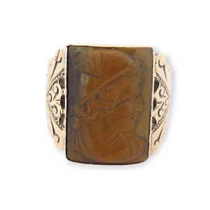 .Stunning Vintage 10ct Rose Gold & Carved Tigers Eye Cameo Signet Ring Size T1/2