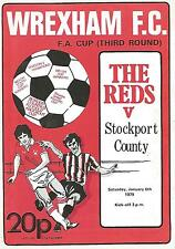 Football Programme - Wrexham v Stockport County - FA Cup - 1979