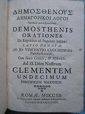 LUCCHESINI : DEMOSTHENIS ORATIONES. Rome, 1712. Texte latin / grec.