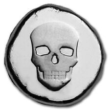 1/2 - OZ. - POURED SILVER - SKULL TYPE 1 - 9Fine MINT - AWESOME PACKAGING -$9.99