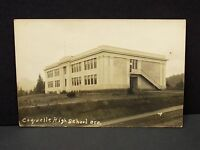 Antique 1920's Coquille Oregon High School Building RPPC Postcard Postal Stamped