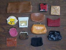 Lot Vintage Small & Large Vintage Black Leather Coin Change Purse Kisslock Top