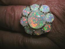Opal Ring strahlender Feueropal in 925 Sterling Silber Blume OPULENT Gr. 54