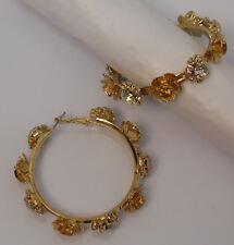 COLOR Women's Flower Hoop Earrings Rhinestones Fashion Gold Tones Leverbacks