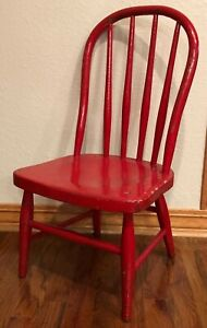 Antique Bentwood Child's Chair Red - Out of a 100 Year Old Church More Available