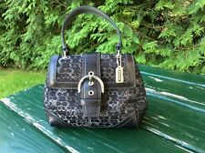 Coach Limited Edition Lurex Small Black Signature C Silver Purse Handbag