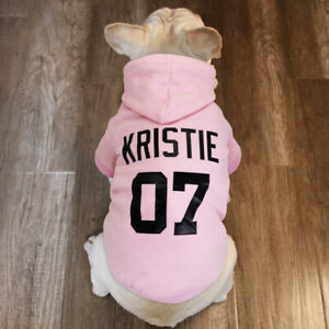 Pink Custom Dog Hoodie Name Personalised Sweatshirt Pet Clothes French Bulldog