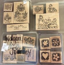 Large Lot of 20 Stampin Up! wood mounted Rubber Stamps Wagon Journey Garden more