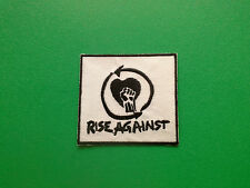 HEAVY METAL PUNK ROCK MUSIC FESTIVAL SEW ON / IRON ON PATCH:- RISE AGAINST WHITE