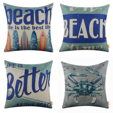 Vintage Blue Beach Decor Surfboard Crab Pillow Case Decorative Cushion Cover