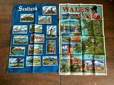 More details for vintage retro scotland & wales pictorial tea towels x 2 new