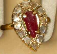 ANTIQUE VICTORIAN ROSE CUT DIAMOND (1 CT) PEAR SHAPED( 2 CT) RUBY 14K GOLD RING