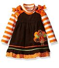 Rare Editions Baby Girls Fall Thanksgiving Turkey Corduroy Jumper Dress 24M New