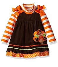 Rare Editions Baby Girls Fall Thanksgiving Turkey Corduroy Jumper Dress 24M New