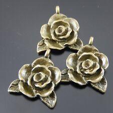 15pcs Antique Style Bronze Tone Alloy Rose Flower Pendant Charms 20*18*4mm