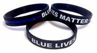 TheAwristocrat 3 Pack of Blue Lives Matter Thin Blue Line Rubber Wristbands