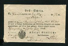 """Saxe Postschein """" Schwarzenburg """" 1826 (#1907)"""