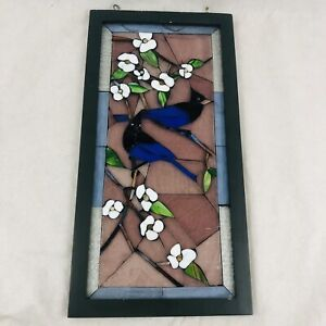 """Vintage Stained Glass Window Panel Wood Framed Blue Birds Flowers 20.75"""" x 10.5"""""""