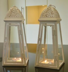 Cream Pair 2 metal Lanterns 30 cm tall (with t lights) indoor outdoor weddings