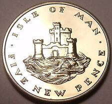 Rare Proof Isle Of Man 1971 5 Pence~Only 10,000 Minted~Castle On a Hill~Free/Shi