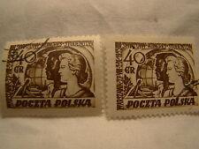 Poland Stamp 1953 Scott 584 A226 40 Gr Set of 2