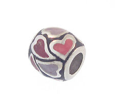 3/c Pink & Purple Hearts European Charm Silver Enamel Bead Fits Popular Brands