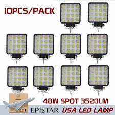 10X 48W LED Work Light Spot Light Off-Road ATV SUV Ford Boat Truck Lamp Square