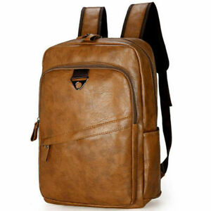 Herren Damen Vintage Leder Rucksack Backpack Schulrucksack Reise Tasche Laptop