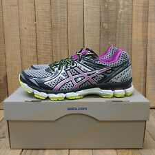 ASICS Womens GT-2000 2 Running Shoes Sz 6.5D (Wide) Black/Orchid/Yellow Sneakers