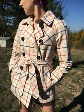 Coach Tan Plaid (Red and Blue) Belted Trench Jacket Coat Size XS