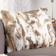 """Genuine Farm Rabbit Fur Pillow Case Cushion Cover Home Sofa HouseDecor 23.6"""""""