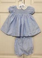 Petit Ami Grn Wht Check Dress Set Lg Slv Plain or Xmas Tree Tab 3 6 or 9M #10139