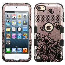 For iPod Touch 5th & 6th Gen - HARD & SOFT RUBBER HYBRID CASE ROSE GOLD FLOWERS
