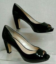 NINE WEST Patent Leather Black Peep Toe Pump Court Platform Shoes UK 7 M C511
