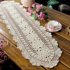 Ecru Vintage Hand Crochet Lace Doily Oval Table Runner 12X35inch Floral Pattern