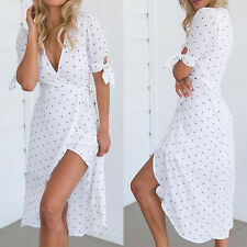 Ladies Boho Maxi V Neck Summer Beach Long Skirt Cocktail Party Spotted Sun Dress