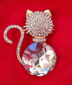 Cat Art Vintage style Jewelry Swarovski Elements Broach Brooch Pin Брошка Кот