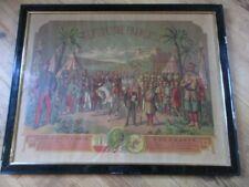 RARE LITHOGRAPHIE ENCADRE UNION TONKIN A LA FRANCE INDOCHINE 77X61 1880 CONRAD