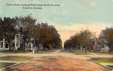 Emporia Kansas~Union Street Homes~North at Sixth Avenue~Lady & Baby Buggy~1910