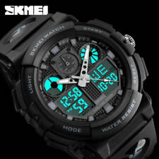 SKMEI Mens Waterproof Sport Army Alarm Date Analog Digital Black Wrist Watch AU