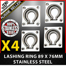 4 X LASHING RING STAINLESS STEEL TIE DOWN POINTS ANCHOR UTE TRAILER 89 X 76MM