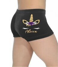 personalised unicorn girls gymnastics shorts, Black velour shorts, dance shorts