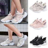 Kids Sports Trainers Shoes Mesh Breathable Running Hook Loop Casual Sneakers NEW