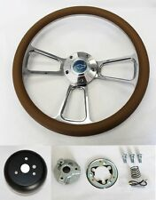 "60-69 Chevy Pick Up Truck Steering Wheel Tan and Billet 14"" Chevy Bowtie Cap"