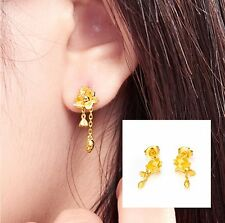 Pure Solid  24K Yellow Gold Earrings / Perfect Flower Dangle Earring / 4g