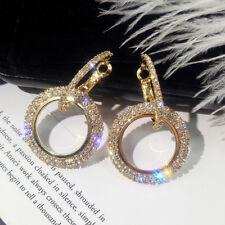 Fashion Yellow Gold Round Drop Earrings Zircon Geometric Hoop Earrings Jewelry